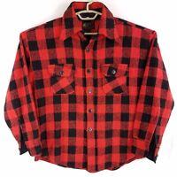 Vtg 70s Big Collar Red Black Buffalo Plaid Wool Blend Flannel Shirt Mens Large