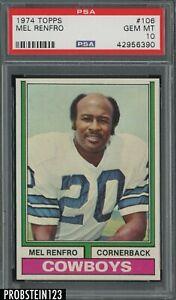 1974 Topps Football #106 Mel Renfro Dallas Cowboys HOF PSA 10 GEM MINT