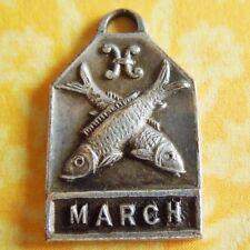 Vintage 1940's MARCH PISCES FISH ZODIAC Art Deco Silver Plated Charm