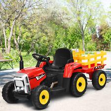 12V 3-Gang Traktor mit abnehmbarem Anhänger, Kinder Aufsitztraktor Rot