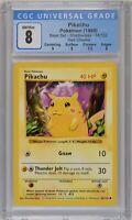 🔥 1999 Pokemon SHADOWLESS RED CHEEKS PIKACHU 58/102 - CGC 8 Near Mint/Mint 🔥