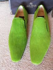 RARE! BNIB $1,900 ALDO BRUE ITALY Green Pony Hair Loafers size US 11 UK 10 EU 44