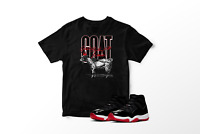 GOAT Graphic T-Shirt to Match Air Jordan 11 Bred Retro All Sizes 100% Cotton