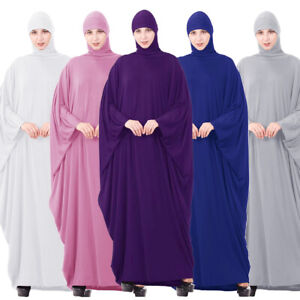 One Piece Hooded Women Prayer Long Dress Muslim Abaya Overhead Burqa Robe Jilbab