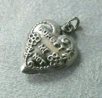Vintage WWII Era Forget Me Not Flowers Sterling Silver Puffy Heart Pendant Charm