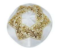Large Gold Star of Magen David on White Satin Kippah Yarmulke from Jerusalem