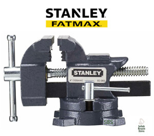 """Stanley FatMax 100mm 4"""" Bench Vice Clamp Cast Iron Swivel Base 1-83-065"""