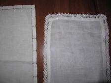 Vintage antique doilies lot of 2 white cotton crochet edging