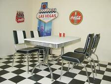 American 50s Diner Furniture Retro Booth Table With 4 Black Chairs