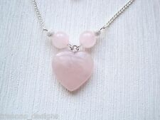 Bonita Cuarzo Rosa Corazón & Perla SP Collar y Colgante Regalo Bolsa Día De San Valentín Amor