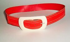 Vintage Fun Bright Orange Belt with big Plastic Buckle Womens Mod Fashion