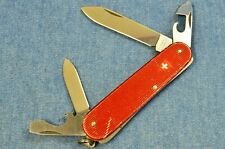 c1970s RARE Victorinox CADET w/RED RIBBED ALOX SWISS SHIELD Swiss Army knife VTG