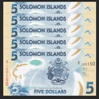 Lot 5 PCS, Salomonen / Solomon Islands 5 Dollars, ND(2019), P-NEW, Polymer, UNC