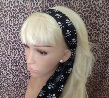 BLACK PIRATE SKULL COTTON FABRIC HEAD SCARF HAIR BAND SELF TIE BOW RETRO STYLE