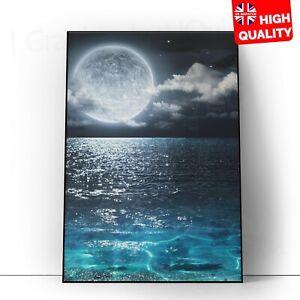 Moon at night sea clouds dark Landscape Poster Wall Art Print | A5 A4 A3 |