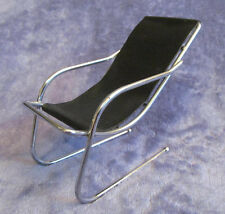 GORGEOUS Barbie Doll 1:6 Scale BLACK & CHROME MODERN Faux Leather SLING CHAIR