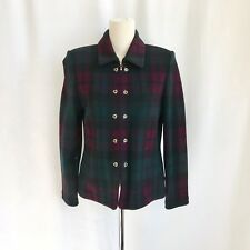 St. John Collection Marie Gray Zip Up Green/purple Plaid Blazer/jacket Size 4