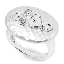 Gabriel&Co Oval Hammered Ring with Diamonds in Sterling Silver .09ctw