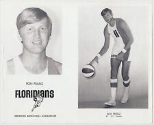 1970/71 RON FRANZ MIAMI FLORIDIANS ABA ORIGINAL TEAM ISSUED 8X10 PRESS PHOTO