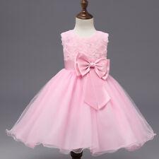 Little Kid Girl Princess Flower Bow Party Wedding Dress Formal Bridesmaid White