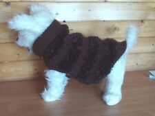 "NEW HAND KNITTED DOG COAT / JUMPER  15 "" BROWNS LENGTH WESTIE TERRIER"