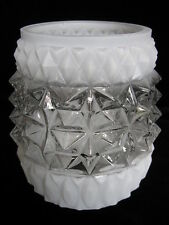 Retro Glass Lampshade - white clear wall light cylinder shade lamp 1980's 1970's