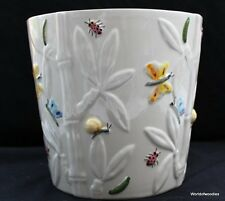 STUNNING WHITE CLAY CERAMIC STUDIO PLANTER bees, butterflies, ladybirds wildlife