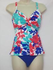 NWT Swim Solutions 2 Piece Tankini w/ Bikini Bright Blue Floral Print Size 12