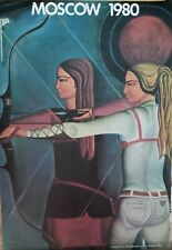 """VINTAGE POSTER~Moscow Russia Archery 1980 Original Summer Olympics 16x24"""" Rare~"""