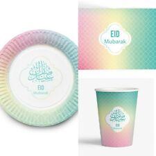Eid MubarakTableware Set( Pastel)-Cups Plates And Placemats-Islamic Eid Party