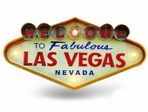 Las Vegas Welcome Neon Sign with LED Metal Vintage for Kitchen Bar Decoration