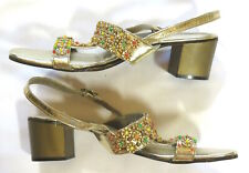 Elena Nicole Vintage 60's Sandals Gold Jeweled Shoes Glam Italy Ascoli Piceno 5