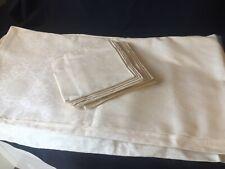 Ancienne grande nappe en coton damassé + 12 serviettes, jamais servi