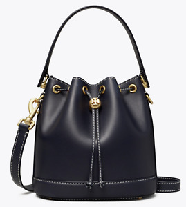 Tory Burch T Monogram Leather Bucket Bag Navy Blue Midnight New Authentic