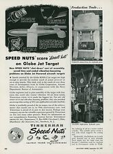 1951 Tinnerman Speed Nuts Aviation Ad Globe KD2G-2 Jet Target Military Navy