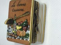 Limoges Peint Main Box COOKBOOK with Spoon, Champagne signed Gerard Ribierre