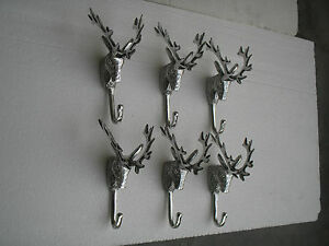 Metal Deer Head Coat Hook Lot of 6 Pieces 7 inches Stag Hooks a/u.