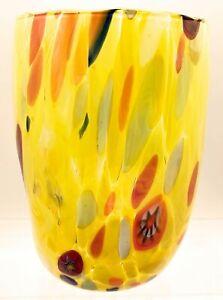 """ARLECCHINO"" MURANO GLASS STEMLESS WINE GLASS  / OLD FASHIONED GLASS - YELLOW"