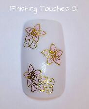 Nail Art Sticker- Gold Pink Decal #251 TJ017 Transfer Shiny 3D Metallic Flower