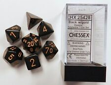 Polyhedral 7-Die Opaque Chessex Dice Set - Black with Gold Numbers CHX 25428