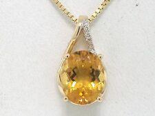 Citrin Anhänger 585 Gelbgold 14Kt Gold natürlicher Citrin und 7 Brillanten