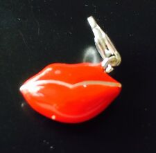 LOVELY RED & SILVER LIPS CLIP ON CHARM FOR BRACELETS - 3D - SILVER PLATE 925