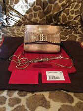 Valentino Rockstar Bow Snakeskin Blush Nude Evening Clutch w/Gold Strap RV $1699