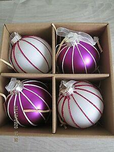 NIB  4 LARGE PURPLE WHITE GLITTER CHRISTMAS TREE DECORATIONS
