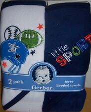 New Gerber Terry Hooded Towel Set, Sport, 26X30 Inches, Baby Shower, Diaper Cake