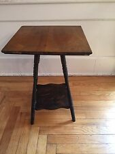 "Antique Spindle Leg Victorian Wood 2 Tier Side End Table 22.5"" Tall Vintage"