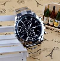 Silver Men's Date Business Stainless Steel Quartz Analog Wrist Watch Wristwatch