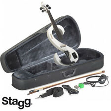 NEW Stagg EVN 4/4 S-Shaped Electric Violin WHITE + Case, Rosin, Bow, Headphones