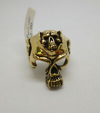 9ct gold on Sterling Silver two skull head biker dress ring stamped 925