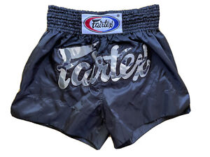 FAIRTEX SHORTS BS0647 MUAY THAI KICK BOXING MMA L BLACK SATIN ADULT UNISEX